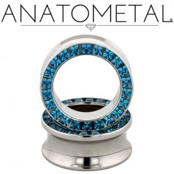 "Anatometal Surgical Steel Princess-cut Gem Eyelet Tunnel 1"" - 2"""