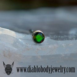 "18 Gauge 18g NeoMetal Limited Ed. Threadless Titanium Faceted Black Opal Bezel 3.0mm ""Press-fit"""
