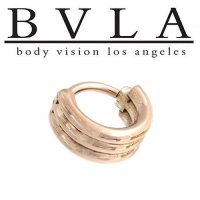 "BVLA 14kt Gold ""Moody Cuff\"" with 16 Gauge Rings Nose Nostril Septum Ear Ring 16 Gauge 16g Body Vision Los Angeles"
