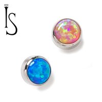 IS Titanium 6mm Threaded Synthetic Opal Cabochon End 10g 8g 6g 4g