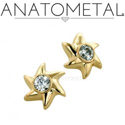 Anatometal 18kt Gold Pinwheel Threaded End 2mm gem 18g 16g 14g 12g