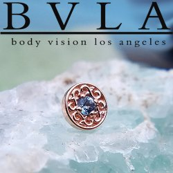 "BVLA 14kt Gold ""Elizabeth"" Threaded End Dermal Top 18g 16g 14g 12g Body Vision Los Angeles"