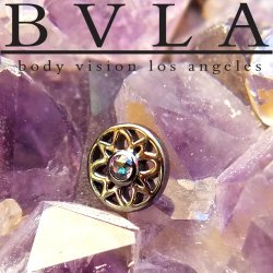 "BVLA 14kt Gold Mini ""Paloma"" Flower Threadless Gem End 18g 16g 14g ""Press-fit"""
