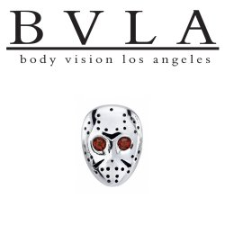 "BVLA 14Kt Gold ""Hockey Mask"" Threaded End Dermal Top 18g 16g 14g 12g Body Vision Los Angeles"