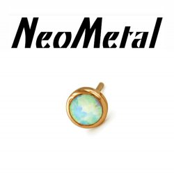 "14 Gauge 14g NeoMetal Threadless 3.0mm Bezel-set Cabochon Gem End 14kt 14 Karat Gold ""Press-fit"""