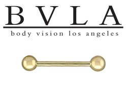 "BVLA 14kt Gold 3/16"" Balls Barbell 10g Body Vision Los Angeles"