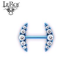 Le Roi Titanium Side-set Barbell 5-Gem Cluster 14 Bead Accents 14 Gauge 12 Gauge 14g 12g
