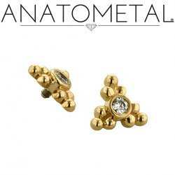 Anatometal 18kt Gold 3 Cluster Sabrina End 2mm gem 18g 16g 14g 12g