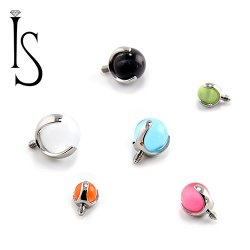 Industrial Strength Titanium 3 Prong Cats Eye 3mm 4mm 5mm Gem End 18g 16g 14g 12g