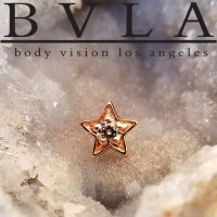 "BVLA 14Kt Gold ""Concentric Star"" Threaded End Dermal Top 18g 16g 14g 12g Body Vision Los Angeles"