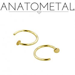 Anatometal 18kt Gold Nostril Nail 18 Gauge 18g