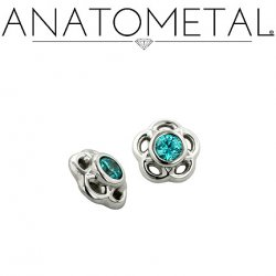 Anatometal Solid Silver Internally Threaded 5mm Tama Gem End18g 16g 14g 12g