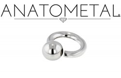 Anatometal Surgical Stainless Steel Screw on Ball Ring 12g 12 Gauge