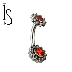 "Industrial Strength Titanium Navel Curve Barbell Belly Button Ring with Double ""Odyssey Flower"" 14 Gauge 12 Gauge 14g 12g"