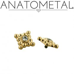 Anatometal 18kt Gold 4 Cluster Sabrina End 1.5mm gem 18g 16g 14g 12g