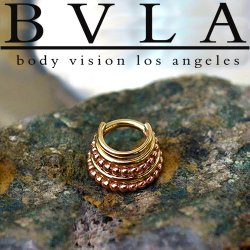 "BVLA 14kt Gold Two-Tone ""Kaycee"" Septum Clicker Ring 16 Gauge 14 Gauge 16g 14g Body Vision Los Angeles"
