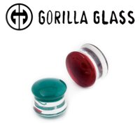 "Gorilla Glass Color Front Double Flare Plugs 12 Gauge to 1"" (Pair)"