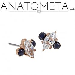 "Anatometal 18kt Gold Prong-set Marquise Gem With Side Accents Threadless End 18 Gauge 18g ""Press-fit"""