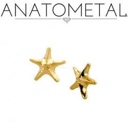 Anatometal 18kt Gold Sea Star Threaded End 18g 16g 14g 12g