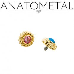 Anatometal 18kt Gold Purity Threaded End 2.5mm Gem 18g 16g 14g 12g