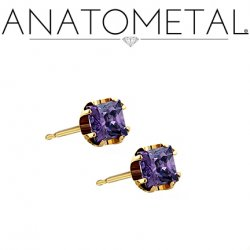 Anatometal 18Kt Gold 3mm Princess Earrings (Pair)